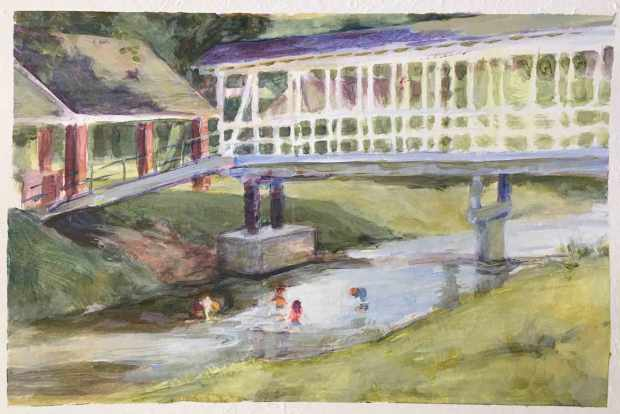 Children-in-Euharlee-Creek,-Susan-Duke-Waters