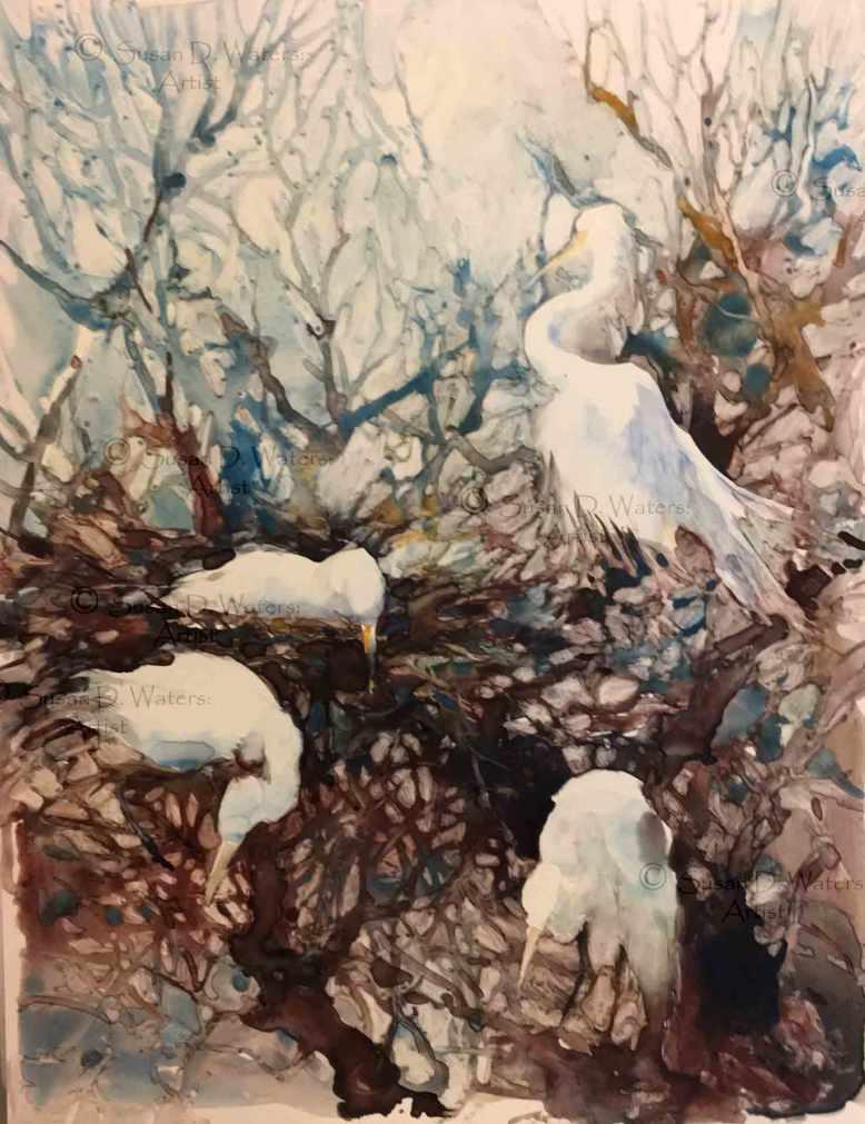 Hedge-of-Egrets,-Susan-Duke-Waters
