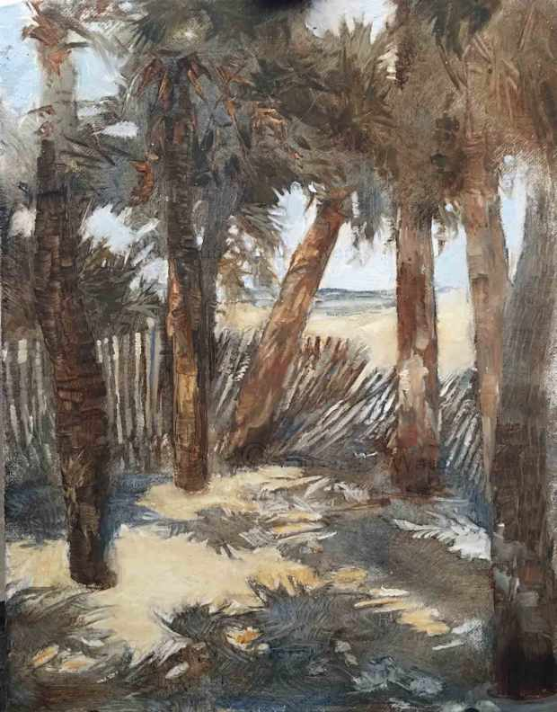 Edisto-Beach-through-Palms,-Susan-Duke-Waters