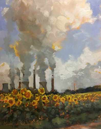 Plant Bowen and Sunflowers, plein air in oil