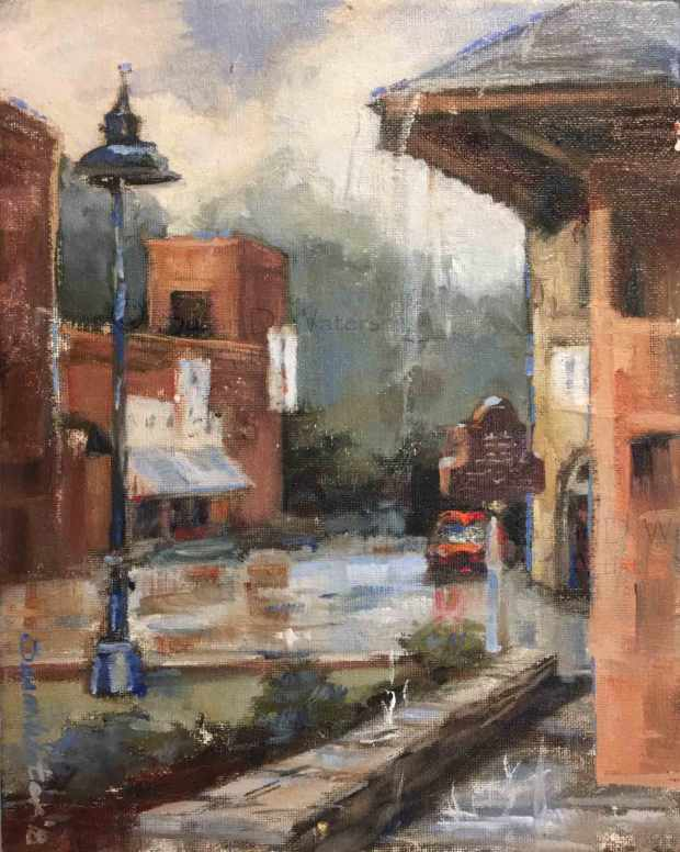 Stone-Mountain-Village-in-Rain,-Susan-Duke-Waters
