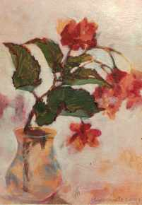 Dradon-Wing Begonia, painted in acrylic,