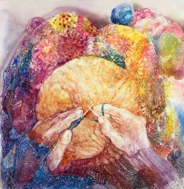 Knitting-with-Cat,-Susan-Duke-Waters