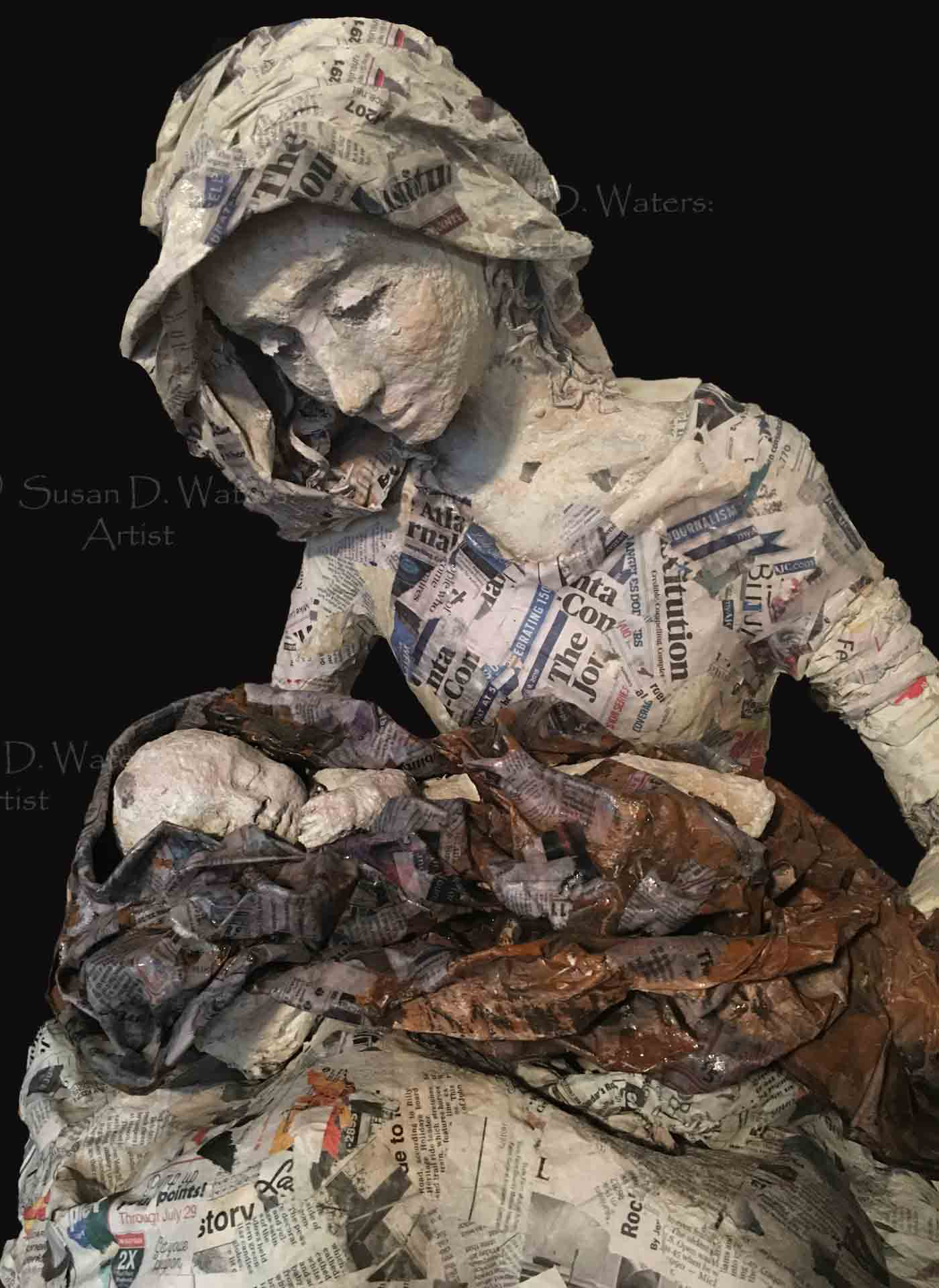 Unfinished-Mary-and-Baby-Jesus-Papier-Mache-Sculpture,-Susan-Duke-Waters