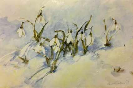 Snowdrops in snow, acrylic
