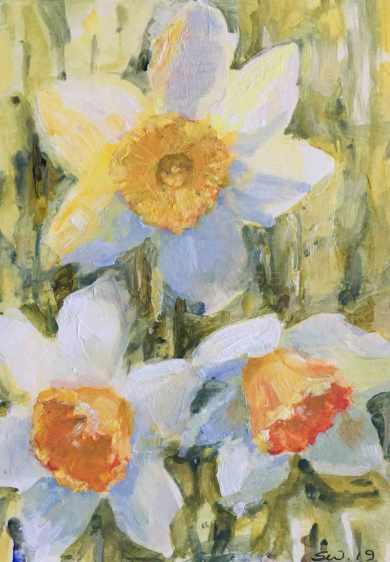 #19. Daffodils III, in acrylic.
