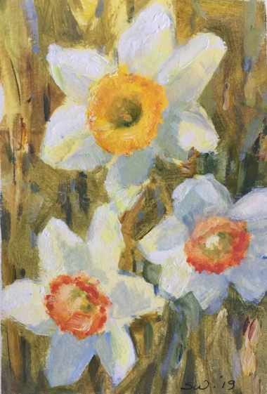 #20. Daffodils IV, in acrylic.