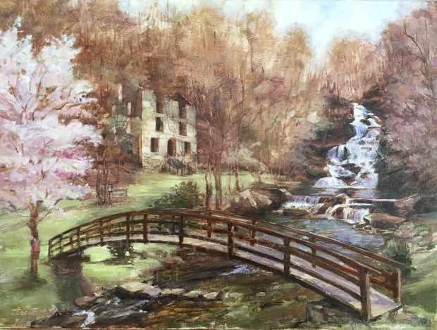 Hightower-Falls,-Mill-and-Bridge,-Susan-Duke-Waters