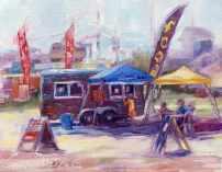 Food Truck I, plein air, oil.