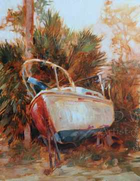 Half-Painted Boat I, plein air in oil.