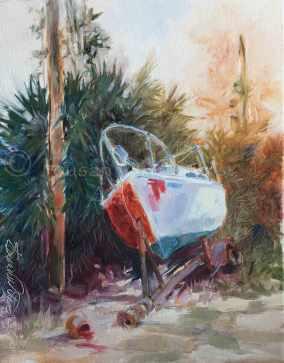 Half-Painred Boat II, plein air in oil.