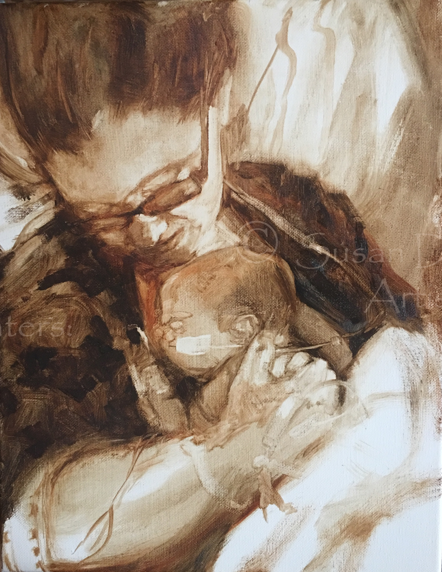 Newborn Baby and Mother Sketch, Susan Duke WAters
