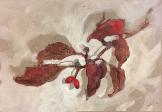 A Fall dogwood sprig with berries, painted in acrylic.